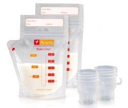 Sada vreciek na materské mlieko 20 ks a adaptéry do odsávačky 2 ks Ameda