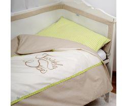 Baby Matex Twinkle Star bavlnené obliečky hnedo-zelené