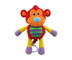 BabyMix Červená Opička hrajúca plyšová hračka