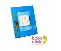 Baby Otisk sada pre odtlačok s ručne maľovaný rámčekom-modrá