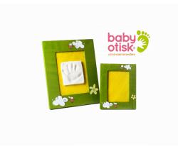 Baby Otisk sada pre odtlačok s ručne maľovaným rámom a rámčekom na foto-zelená