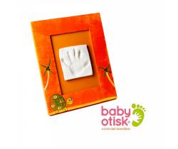 Baby Otisk sada pre odtlačok s ručne maľovaným rámčekom-oranžová