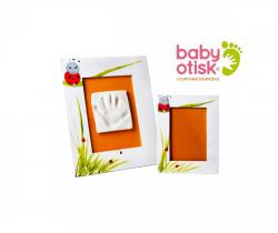 Baby Otisk sada pre odtlačok s ručne maľovaným rámom a rámčekom na foto-biela