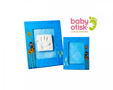 Baby Otisk sada pre odtlačok s ručne maľovaným rámom a rámčekom na foto-modrá