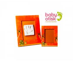 Baby Otisk sada pre odtlačok s ručne maľovaným rámom a rámčekom na foto-oranžová