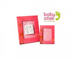 Baby Otisk sada pre odtlačok s ručne maľovaným rámom a rámčekom na foto-ružová