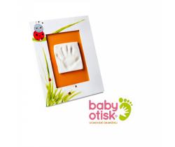 Baby Otisk sada pre odtlačok s ručne maľovaným rámom-biela