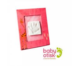 Baby Otisk sada pre odtlačok s ručne maľovaným rámom-ružová