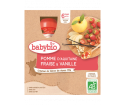 Babybio Doypack jablko, jahoda, vanilka 4 x 90g