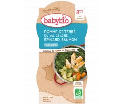 Babybio menu zemiaky a špenát s lososom a rýžou 2 x 200g