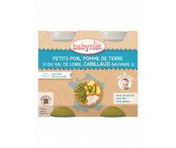Babybio menu hrášok a zemiaky s islandskou treskou 2 x 200g
