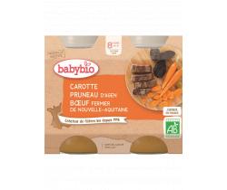 Babybio menu mrkva a sušené slivky s hovädzím mäsom 2 x 200g