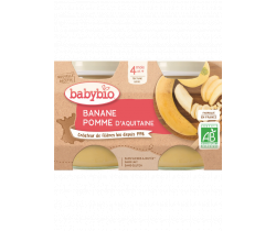 Babybio ovocný príkrm jablko, banán 2 x 130g