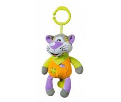 BabyOno Mačka oranžová hrajúca plyšová hračka s klipom