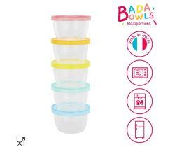 Misky s viečkami 5ks 250 ml Badabulle Maxi Fun Colors