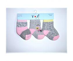 Bavlnené ponožky 3 ks Yo Grey Ribs