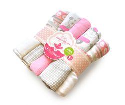 Bavlnené tetra plienky s potlačou 5 ks Bobas Sweet sheep and Owls Pink