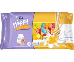 Bella Baby Happy čistiace obrúsky mlieko a med 64 ks