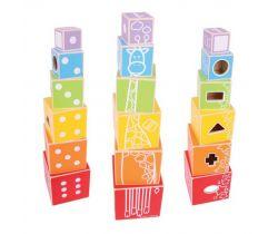 Drevená farebná veža s tvarmi Bigjigs Baby