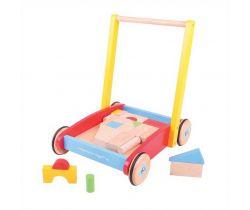 Drevené kocky vo vozíku Bigjigs Baby