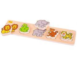 Drevené vkladacie puzzle Bigjigs Baby Safari
