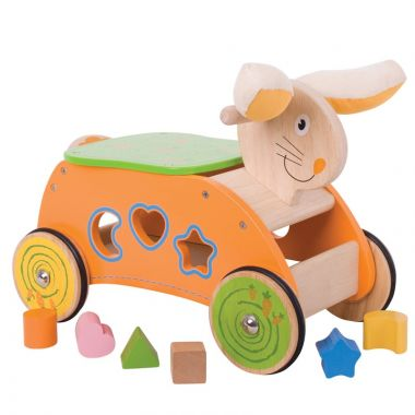 Drevený motorický vozík Bigjigs Baby Zajac