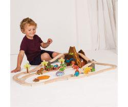 Drevená vláčkodráha Bigjigs Rail Dinosaurie