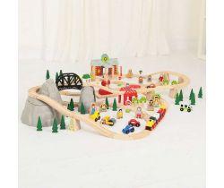 Drevená vláčkodráha 112 dielov Bigjigs Rail Horská cesta