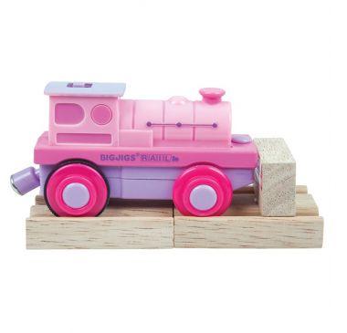 Elektrická lokomotíva Mašinka ružová Bigjigs Rail