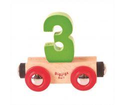 Drevené vláčikodráhy Bigjigs Rail vagónik Číslo 3