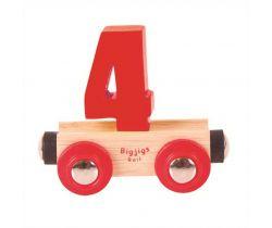 Drevené vláčikodráhy Bigjigs Rail vagónik Číslo 4