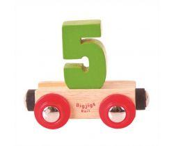 Drevené vláčikodráhy Bigjigs Rail vagónik Číslo 5