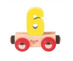 Drevené vláčikodráhy Bigjigs Rail vagónik Číslo 6