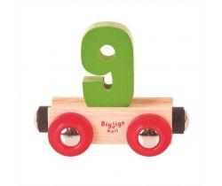 Drevené vláčikodráhy Bigjigs Rail vagónik Číslo 9