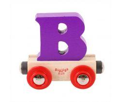 Drevené vláčikodráhy Bigjigs Rail vagónik Písmeno B
