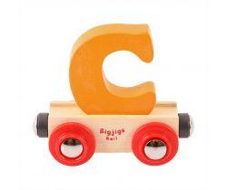 Drevené vláčikodráhy Bigjigs Rail vagónik Písmeno C