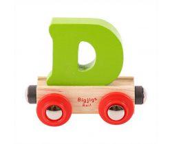 Drevené vláčikodráhy Bigjigs Rail vagónik Písmeno D