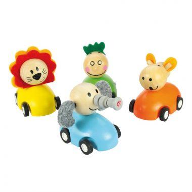 Farebné drevené auto so zvieratkami Bigjigs Toys 1ks