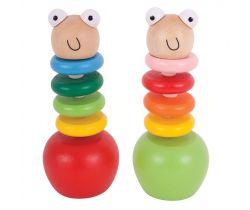 Farebný červík s jabĺčkom Bigjigs Toys