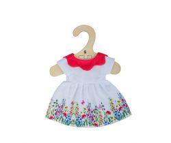 Biele kvetinové šaty s červeným golierom pre bábiku 28 cm Bigjigs Toys