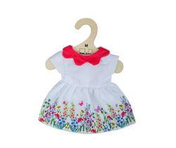 Biele kvetinové šaty s červeným golierom pre bábiku 34 cm Bigjigs Toys