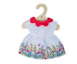 Biele kvetinové šaty s červeným golierom pre bábiku 38 cm Bigjigs Toys