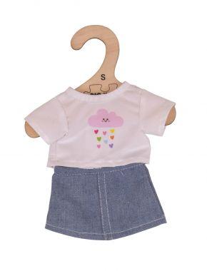 Tričko s riflovú sukní pre bábiku 28cm Bigjigs Toys Biele