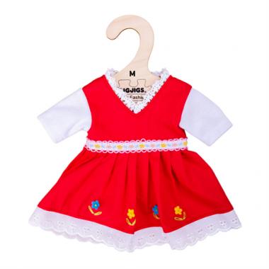 Kvetinové šaty pre bábiku 34 cm Bigjigs Toys Červené