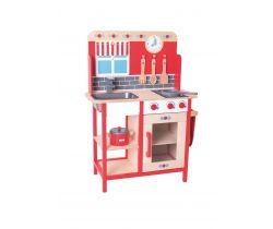 Drevená detská kuchynka Bigjigs Toys Červená