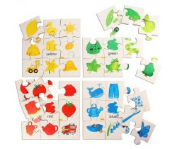 Drevené didaktické puzzle Bigjigs Toys Základné farby
