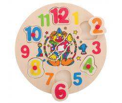 Drevené hodiny s klaunom Bigjigs Toys