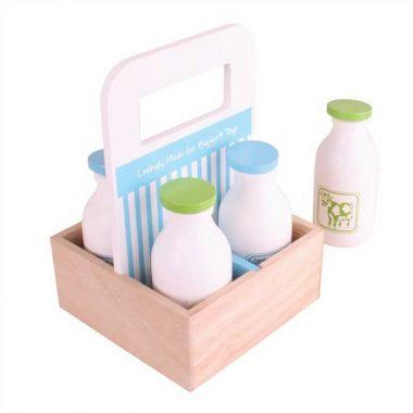 Drevené mlieko v prenosnej krabičke Bigjigs Toys