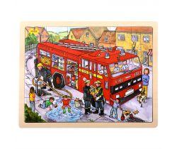 Drevené puzzle Bigjigs Toys Hasiči 24 dielikov