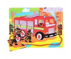 Drevené puzzle Bigjigs Toys Hasiči 9 dielikov